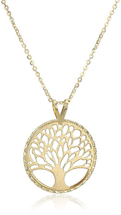 10k Yellow Gold Tree Of Life Necklace