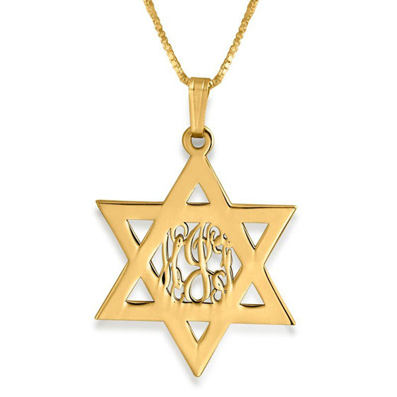 Gold Plated Silver Star of David Monogram Personalized Name Necklace