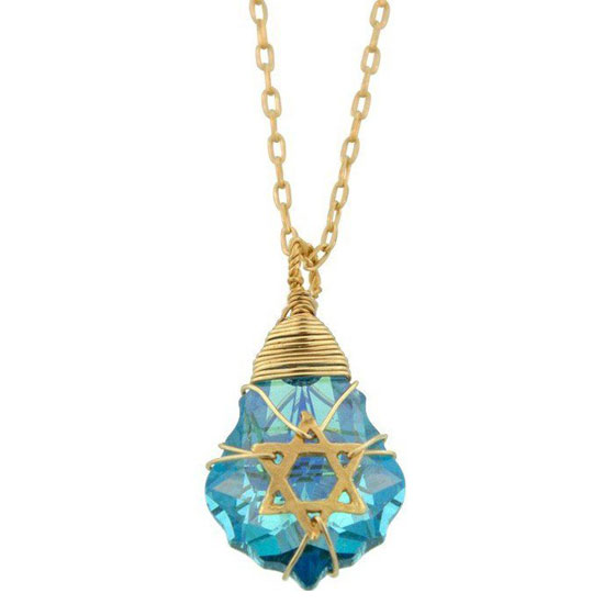 Blue Crystal Star of David Necklace with Gold Filled Wire Wrapping