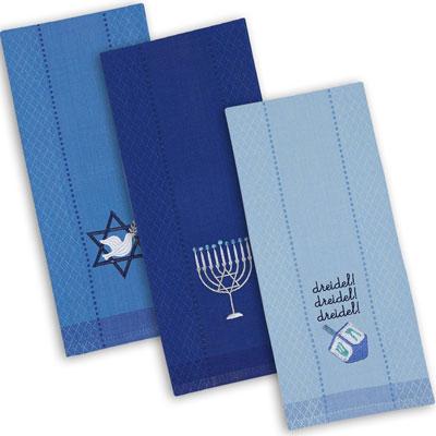 Dii Cotton Hanukkah Holiday Dish Towels, Set Of 3