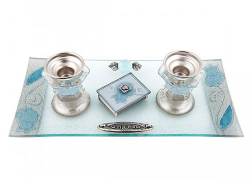 Lily Art Painted Glass Candlesticks With Tray & Match Box Pomegranates Blue