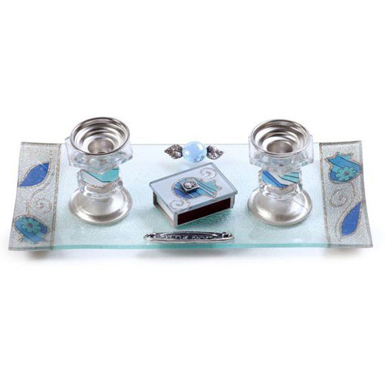 Painted Glass Candlesticks with Tray & Match Box: Pomegranates
