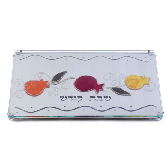 Painted Stainless Steel Challah Board: Pomegranates (Lily Art)
