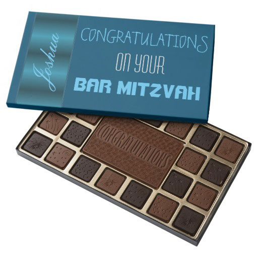 Personalized Blue Satin Bar Mitzvah Assorted Chocolates