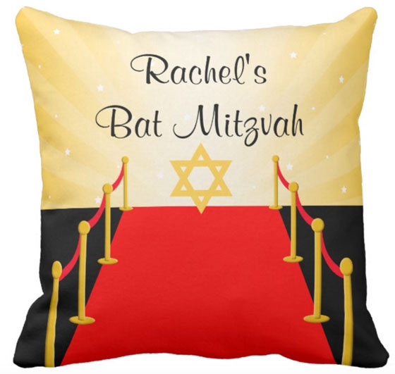 Red Carpet Hollywood Bat Mitzvah Throw Pillow