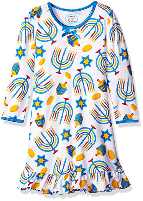 Saras Prints Girls Whirl And Twirl Long Sleeve Nightgown