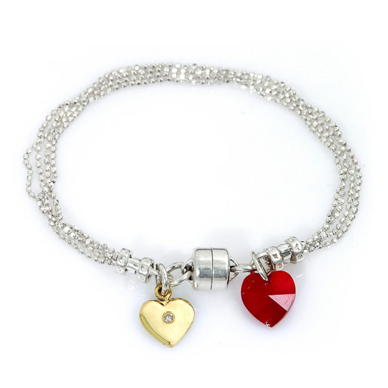 Silver Bracelet with 14K Gold and Red Crystal Heart Charm
