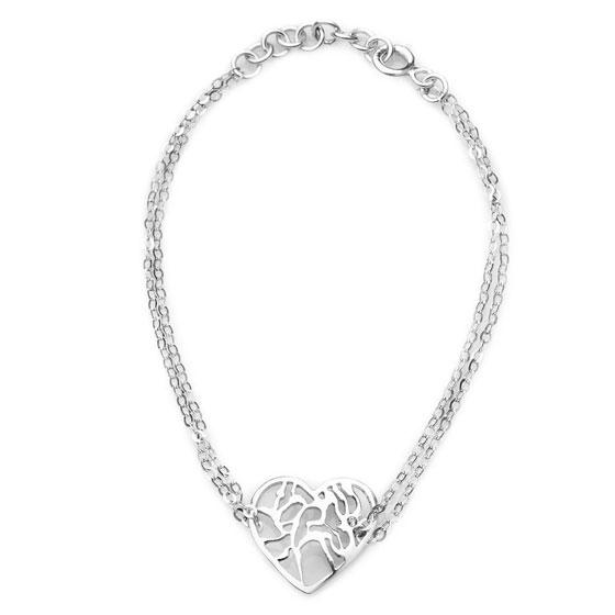 Silver Heart Bracelet With Diamond - Shema Yisrael