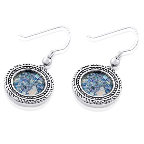 Silver and Roman Glass Circle Earrings