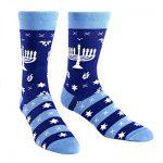 Sock It To Me Mens Fun Crew Socks Hanukkah Menorah Mazel Toes