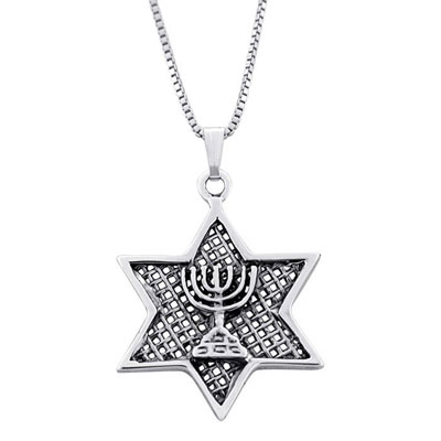 Star Of David With Menorah Silver Necklace