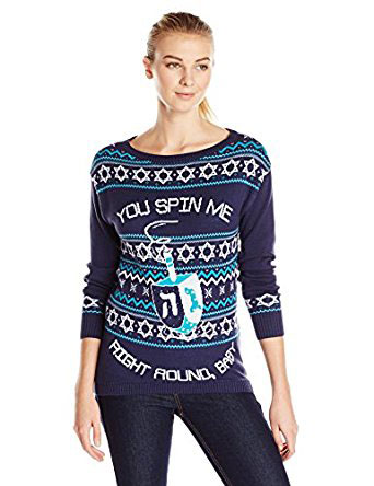 Womens You Spin Me Right Round Baby Dreidel Hanukkah Sweater