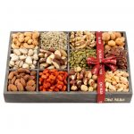 12 Variety Nuts in a Modern Wood Gift Tray