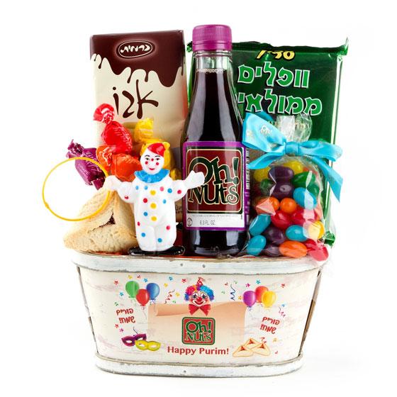 Popular Colorful Clown Purim Shalach Manos Gift Basket