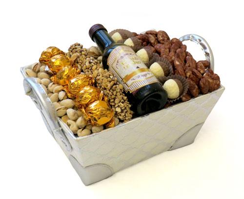 Purim Chocolate Nuts Wine Basket Israel Only