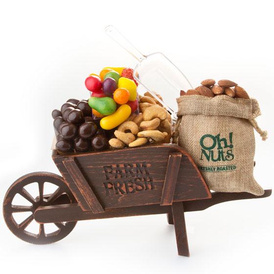 Purim Shalach Manos Rustic Charm Wooden Wheelbarrow Gift Basket