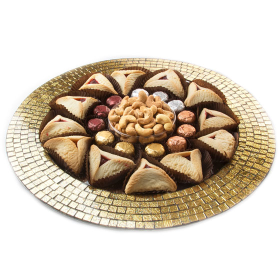 Shalach Manos Mosaic Stainless Steel Purim Platter