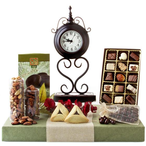 Shalach Manos Purim Timeless Elegance Clock Gift Basket