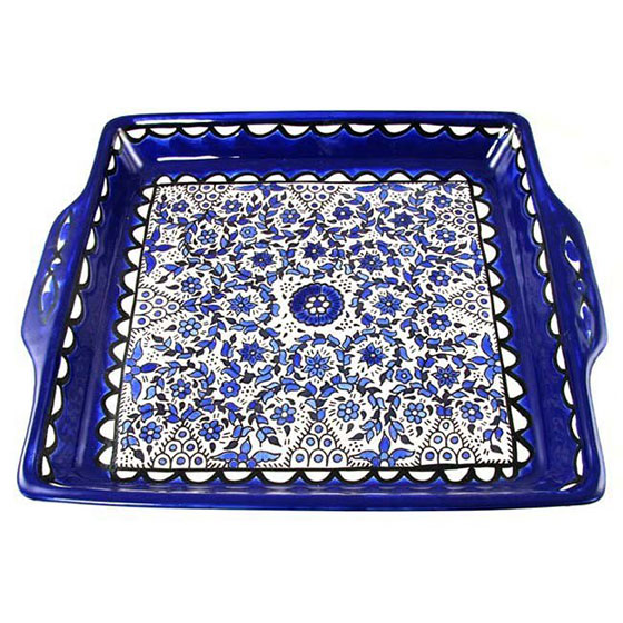 Armenian Ceramic Serving Tray with Blue and White Floral Circles