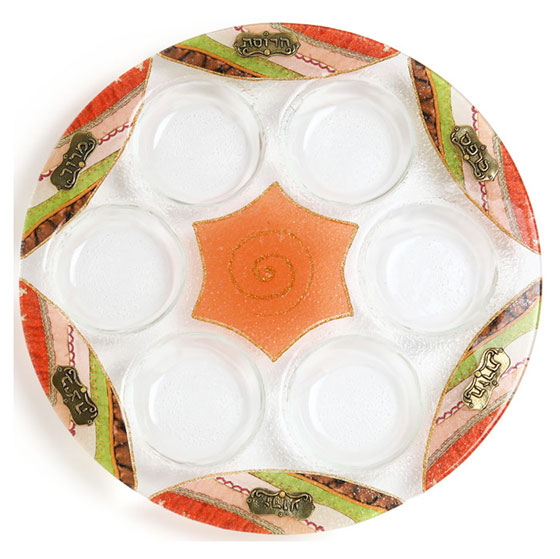 Glass Seder Plate with Orange Star of David