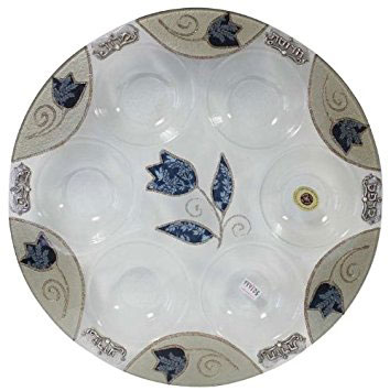 Lily Art Round Passover Glass Seder Plate