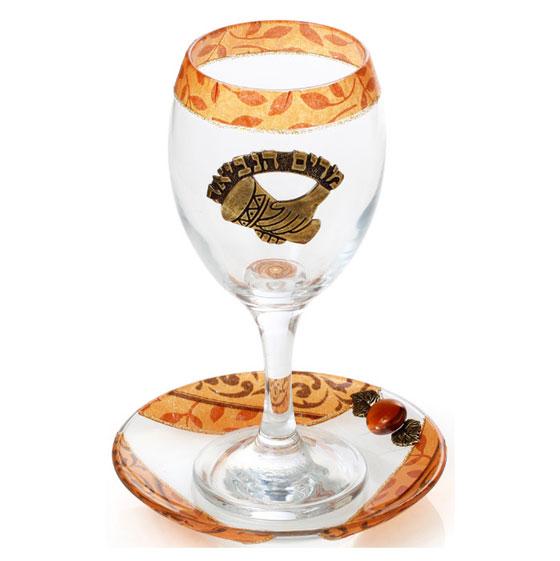 Orange Glass Miriam Cup with Metal Plaque