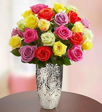 Two Dozen Assorted Rainbow Colors Roses