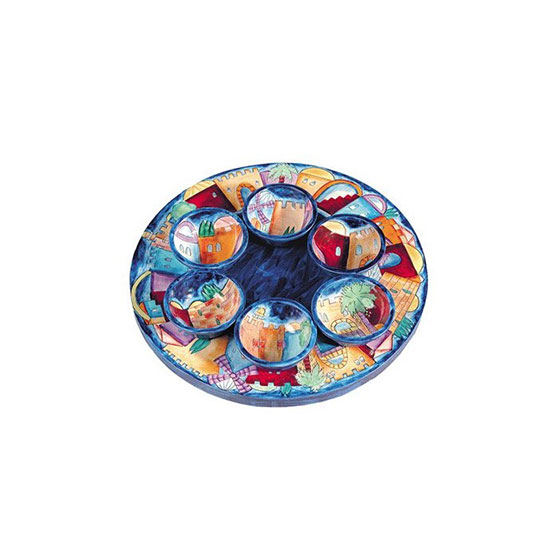 Yair Emanuel Wooden Passover Seder Plate with Jerusalem Depictions