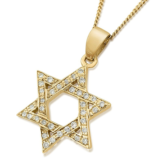 14K Deluxe Gold Star of David Pendant with Diamonds