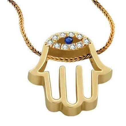 14K Gold Diamond-Encrusted Hamsa Pendant with Sapphire Eye