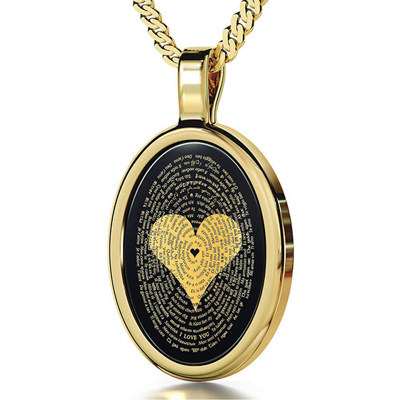 "14K Gold and Onyx Necklace Micro-Inscribed with 24K Gold Heart and ""I Love You"" in 120 Languages"
