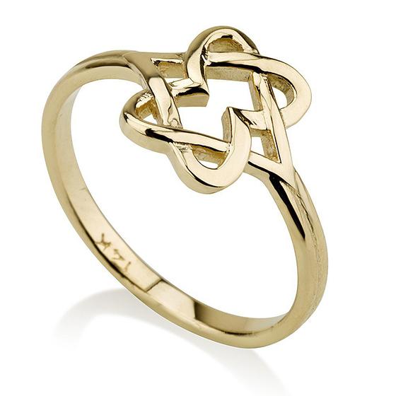 14K Yellow Gold Contemporary Star of David Hearts Ring