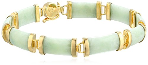 18K Yellow Gold Over Sterling Silver Jade Bracelet