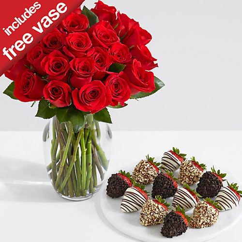 24 Red Roses + 12 Strawberries