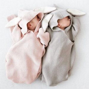 Adorable Bunny Design Knitted Newborn Baby Sleeping Bag