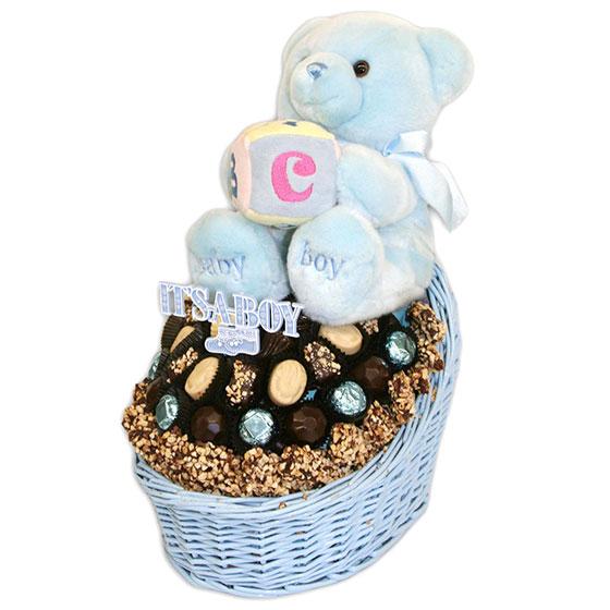 Baby Boy Bassinet Parve Chocolate Gift Basket