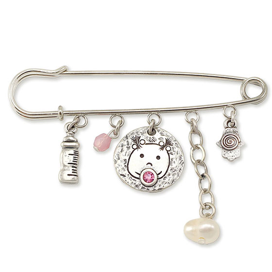 Danon Evil Eye Charms Safety Pin with Swarovski Crystal