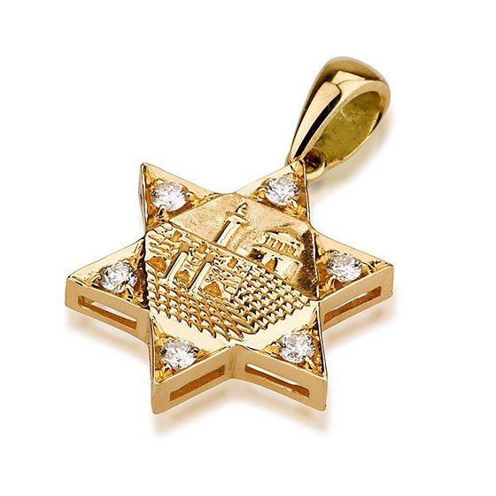 Deluxe 18K Gold and Diamonds Star of David with Old Jerusalem Motif Pendant