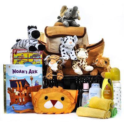 Deluxe Noahs Ark Cuddly Friends Baby Basket