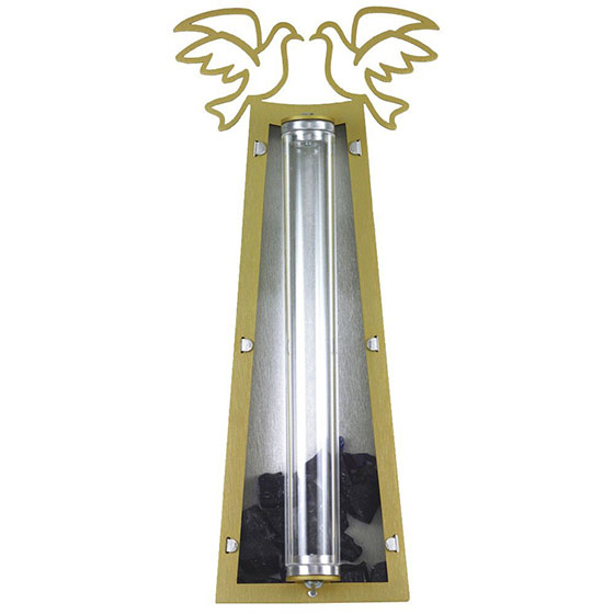 Doves Mezuzah with Wedding Glass Receptacle
