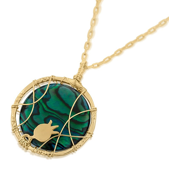 Gold Filled Wire Pomegranate Necklace with Emerald Green