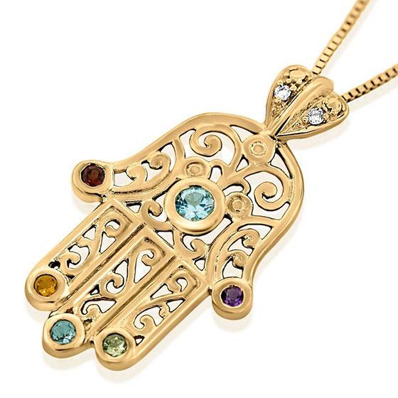 Hamsa: 14K Gold Filigree Pendant with Diamonds & Gemstones