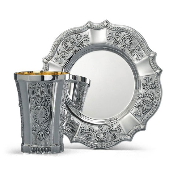 Hazorfim 925 Sterling Silver Kiddush Cup Set