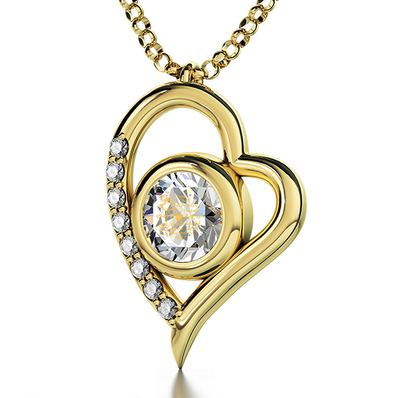 """I Love You"" in 12 Languages: 24K Gold Plated & Swarovski"