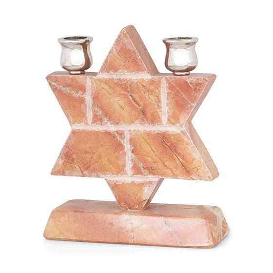 Jerusalem Stone Star of David Shabbat Candle Holder
