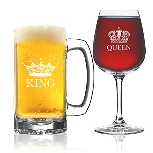 King Beer Queen Wine Glasses