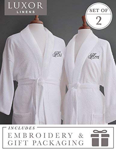 Luxor Linens Egyptian Cotton Terry Robes with Couple's Embroidery