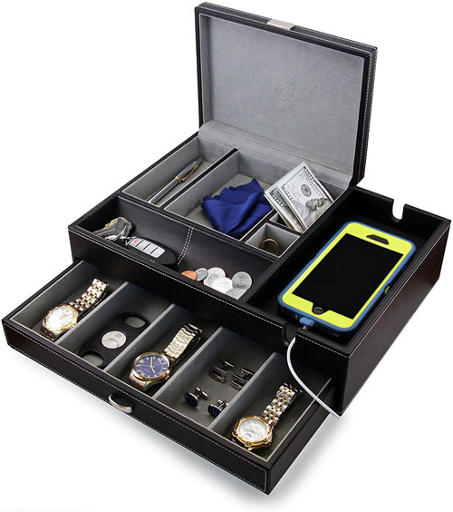 Mens Big Dresser Jewelry Valet Box