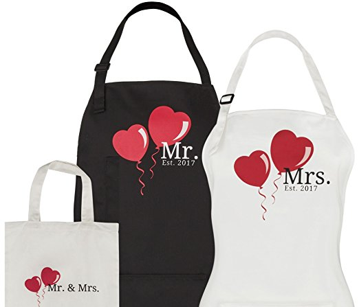 Mr. & Mrs. Aprons – Couples Wedding Gift Set