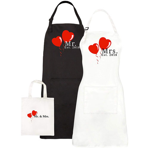 Mr & Mrs Aprons Couples Wedding Gift Set